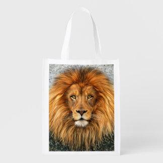 Lion Photograph Paint Art image Reusable Grocery Bag