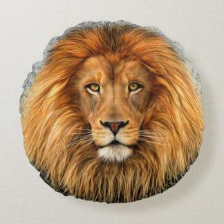 Lion Photograph Paint Art image Round Pillow