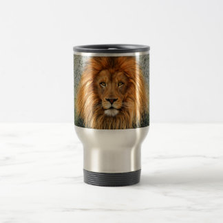 Lion Photograph Paint Art image Travel Mug