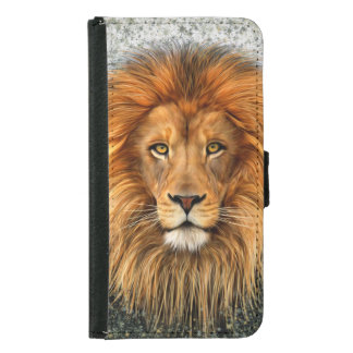 Lion Photograph Paint Art image Wallet Phone Case For Samsung Galaxy S5