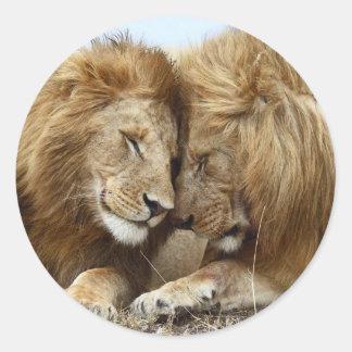 lion pic classic round sticker