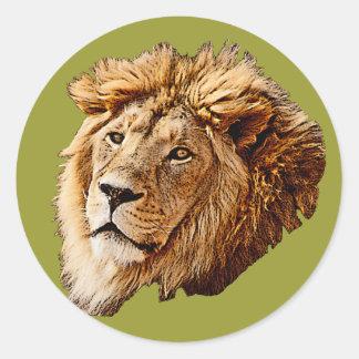 Lion Picture Classic Round Sticker