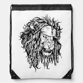Lion-pirate Drawstring Bag