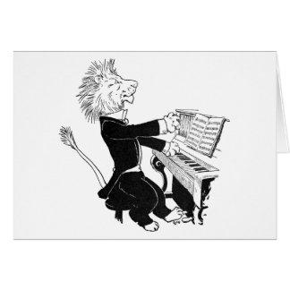 Lion Playing Piano Antique Louis Wain Drawing Card