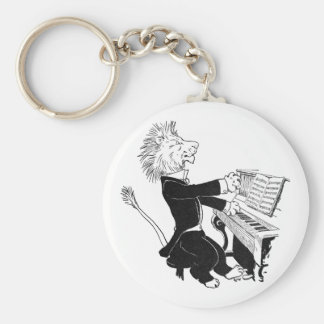 Lion Playing Piano Antique Louis Wain Drawing Basic Round Button Keychain