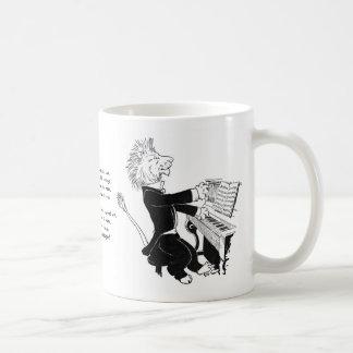 Lion Playing Piano Antique Louis Wain Drawing Classic White Coffee Mug