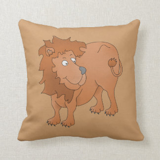 Lion playing with his tail throw pillow