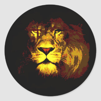 Lion Pop Art Classic Round Sticker