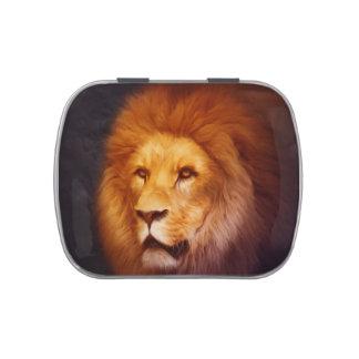 Lion portrait candy tin