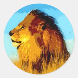 Lion Portrait Classic Round Sticker