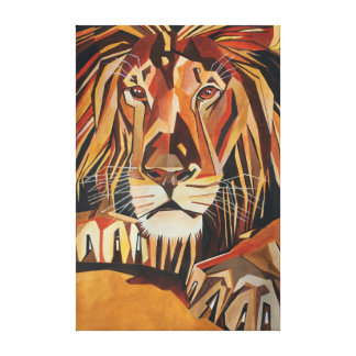 Lion Portrait in Cubist Style Canvas Print
