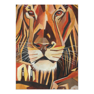 Lion Portrait in Cubist Style Card