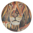 Lion Portrait in Cubist Style Dinner Plate