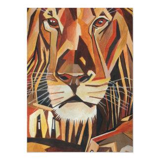 Lion Portrait in Cubist Style 5.5x7.5 Paper Invitation Card