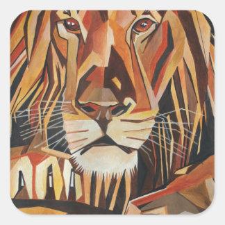 Lion Portrait in Cubist Style Square Sticker