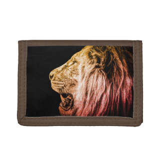 Lion Portrait on Black Trifold Wallet