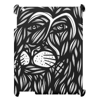 Lion Profile Black and White iPad Covers