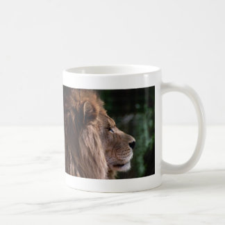 lion profile classic white coffee mug