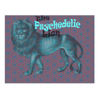 Lion Psychedelic Art Retro Vintage 60s 70s Pattern Postcard