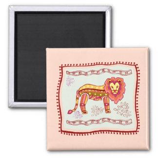 Lion Quilt 2 Inch Square Magnet