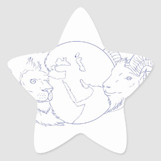 Lion Ram Globe Middle East Drawing Star Sticker