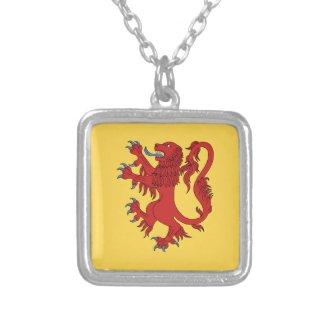 Lion Rampant Gules Square Pendant Necklace