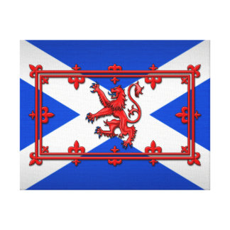 Lion Rampant On Scottish Flag Canvas Print