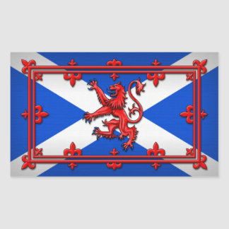 Lion Rampant On Scottish Flag Rectangular Sticker