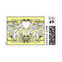 Lion Rampant Renaissance Wedding Postage