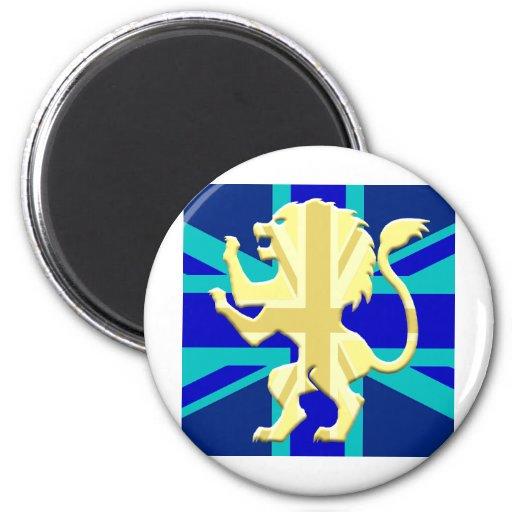 Lion Rampant upon Union Jack 2 Inch Round Magnet
