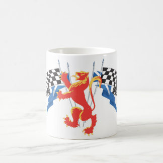Lion Rampant with saltire and checkered flag Classic White Coffee Mug