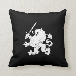 Lion Rampant with Sword Heraldry Throw Pillow