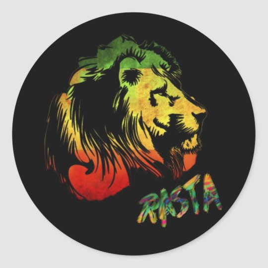 Lion rasta classic round sticker