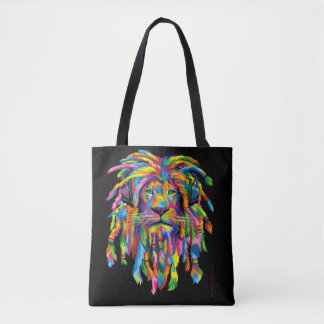 Lion Rasta Dreadlocks Black and White Tote Bag