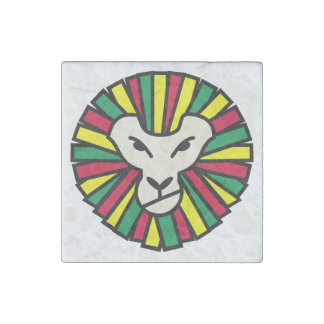 Lion Rastafarian Flag Stone Magnet