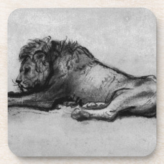 Lion resting by Rembrandt Coasters