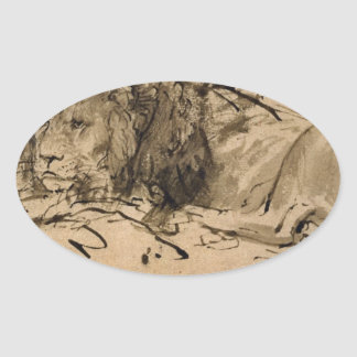 Lion Resting by Rembrandt Oval Sticker