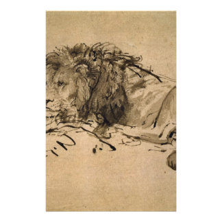 Lion Resting by Rembrandt Stationery