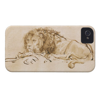 Lion Resting (pen and ink on paper) Case-Mate iPhone 4 Case