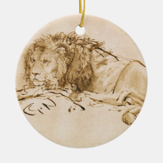 Lion Resting (pen and ink on paper) Ceramic Ornament