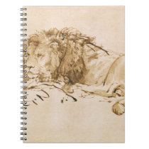 Lion Resting (pen and ink on paper) Notebook