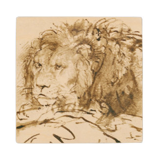 Lion Resting (pen and ink on paper) Wooden Coaster