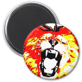 Lion Roaring 2 Inch Round Magnet