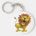 Lion Roaring Basic Round Button Keychain