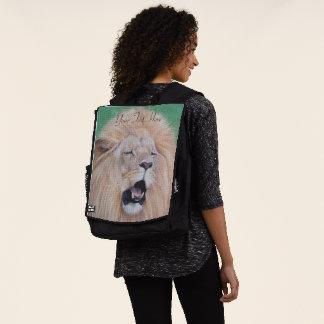 Lion roaring big cat original wildlife art backpack