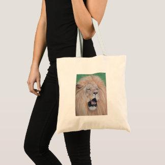Lion roaring big cat original wildlife art tote bag