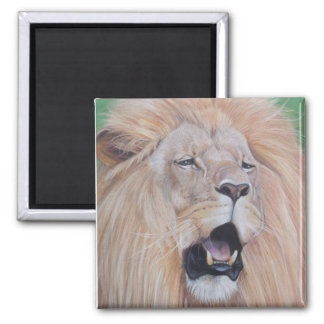 Lion roaring big cat wildlife realist art design magnet