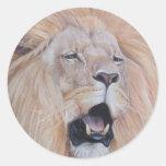lion roaring big cat wildlife realist art stickers round stickers