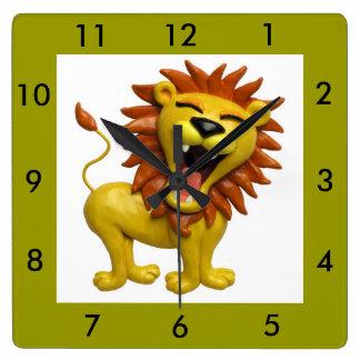 Lion Roaring Square Wallclocks
