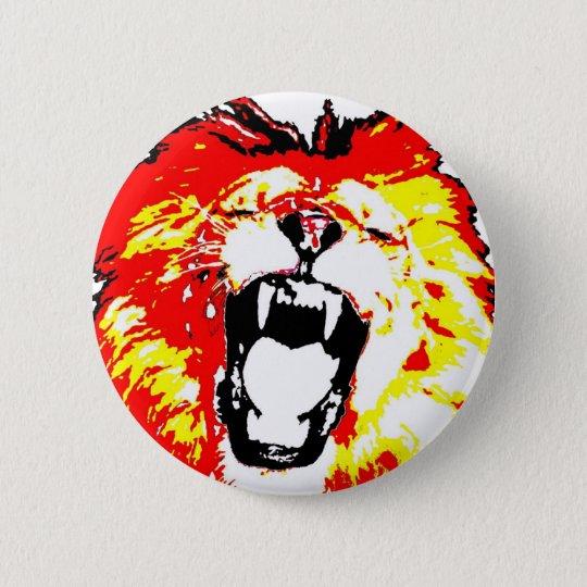 Lion Roaring Pinback Button